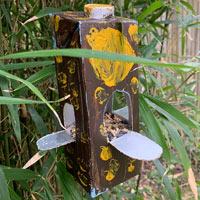 Home-made carton bird feeder